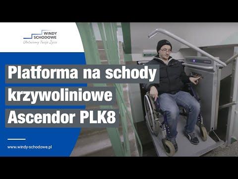 Platforma schodowa dla osób niepełnosprawnych firmy Ascendor, model PLK8